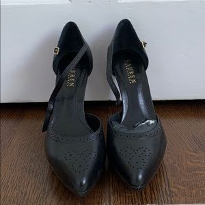 Ralph Lauren Black leather heels. Never worn